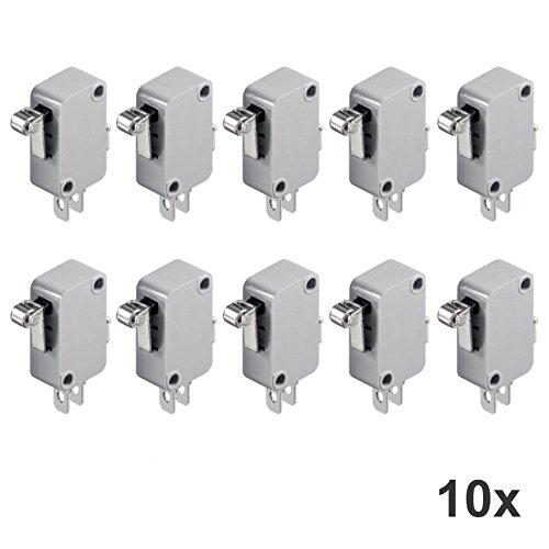 10 Stück Microschalter 1 polig Endschalter Näherungsschalter Wechselschalter Mikromit Rollenhebel -