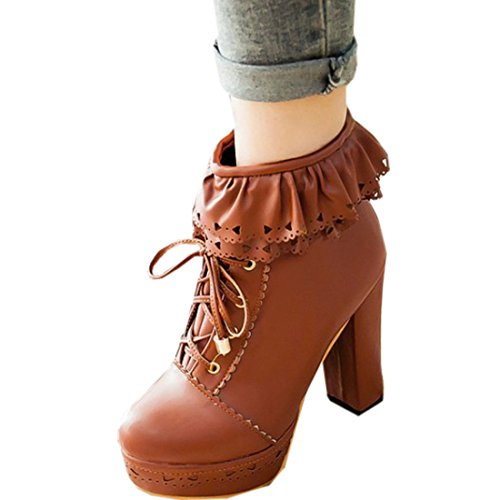 Partiss Damen Suess High-top Boots Casual Schuhen Lolita Pumps Herbst Winter Platform Hochzeit Tanzenball Maskerade Pumps Kaeltschutz Lace up Zipper Winterstiefel Winter Shoes Braun