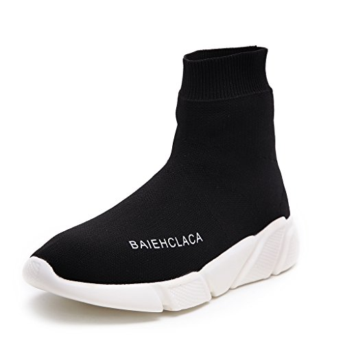 SIKAINI Herren Sportschuhe Leichte Atmungsaktive Damen Turnschuhe Slip-on Walking Schuhe Socks Schuhe (37EU, Schwarz) (Schuhe Alexander Mcqueen)