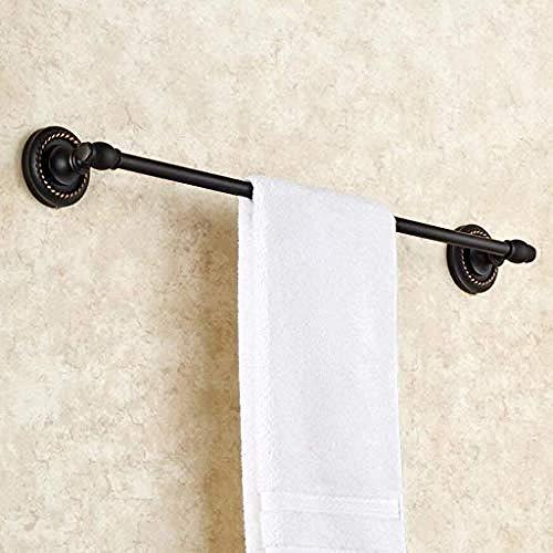 Wand Regal Metall Rod (WEIUTY Handtuchhalter Regal Metall für Rahmen Home Fashion einfache Handtuchhalter Bad schwarz Kupfer Wand Single Rod Handtuchhalter Badzubehör)