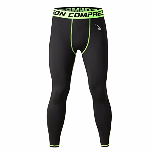 Homme Compression Coolmax Noir Pantalon Extensible Green Black