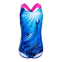 Girls Swimwear, One Piece Swimming Suit Blue Shark Swimsuit