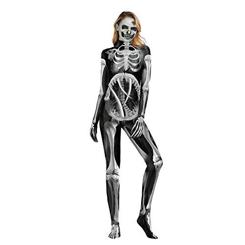 Scary Stadt Kostüm Party - GALEI Halloween 3D Print Overall Kostüm, Damen Kleid Cosplay, Horror Clown Langarm Body mit Handschuhen/Socken,Schwarz,XL