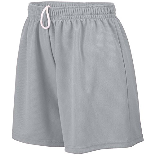 Augusta Sportswear Girls' WICKING MESH SHORT L Silver Grey (Mädchen Augusta Mesh Wicking)