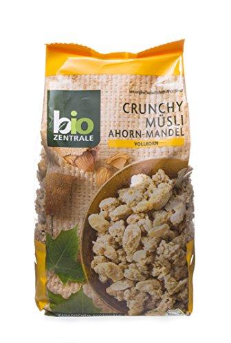 biozentrale Crunchy Müsli Bio | 375g Bio Müsli Ahorn Mandel | Ideal zum Frühstück und für den Müslibecher 2 go | Alternative zum Müsliriegel