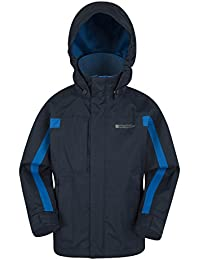 Mountain Warehouse Samson Kids Jacket - Adjustable Cuffs, Pockets, Adjustable Hood Childrens Jacket, Waterproof & Taped Seams - Ideal All Season Coat For Cold Weather