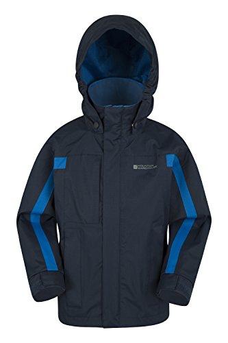 Mountain Warehouse Samson Jacke für Kinder - Verstellbare Bündchen, Taschen, Kinderjacke mit Kapuze, versiegelte Nähte - Idealer Allwettermantel für kaltes Wetter Marineblau 128 (7-8 Jahre)