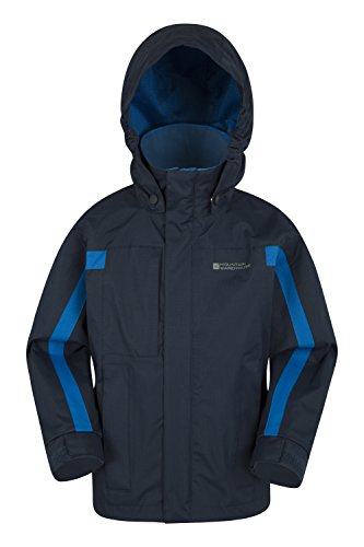 Mountain warehouse giacca per bambini samson - polsini regolabili, tasche, giacca per bambini con cappuccio regolabile, cuciture nastrate e resistenti all'acqua blu navy 140