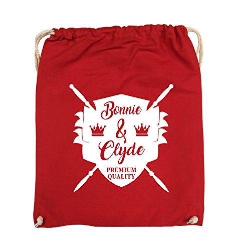 Comedy Bags - Bonnie & Clyde RITTER - MOTIV - Turnbeutel - 37x46cm - Farbe: Schwarz / Pink Rot / Weiss