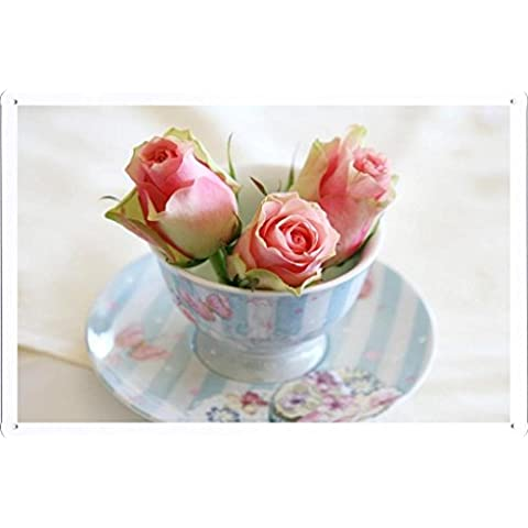 Metallo Poster Targa in metallo Piastra Flower Tin Sign Roses Buds Cup Saucer 54052 Retro Vintage parete Décor by hamgaacaan (20x30cm)