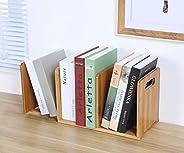 Ganeed Expandable Desktop Bookshelf,Bamboo Desktop Bookcase,Mini Bookshelf Organizer Tabletop Bookshelf for Of