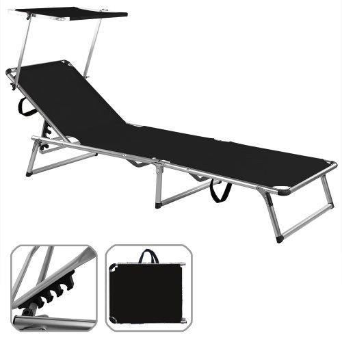 Chaise longue avec pare soleil pliante aluminium Transat pliable Parasol NOIR 190x67 cm