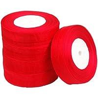 SODIAL(R) 25mm Cinta de Organza Borde Tejido Organza 50 Yarda / 6 Colores Accesorio DIY de Boda - Rojo
