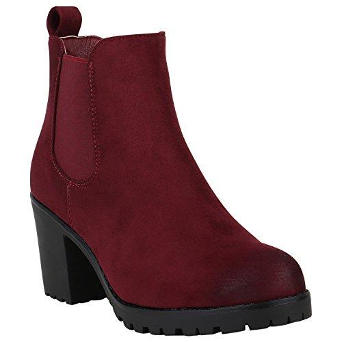 Rote Wildleder-stiefeletten (Damen Schuhe Gefütterte Chelsea Boots Wildleder-Optik Stiefeletten Boots 152359 Dunkelrot Velours 40 Flandell)