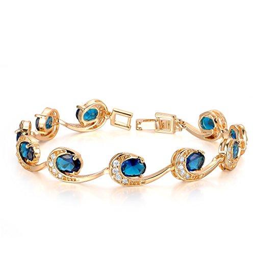 Oven Moda Encanto de la Cadena de Oro Chapado Circonio Cúbico Brazalete de la Pulsera-19.4CM Azul de las Señoras del Diamante de Navidad de la Joyería de Regalo de las Mujeres