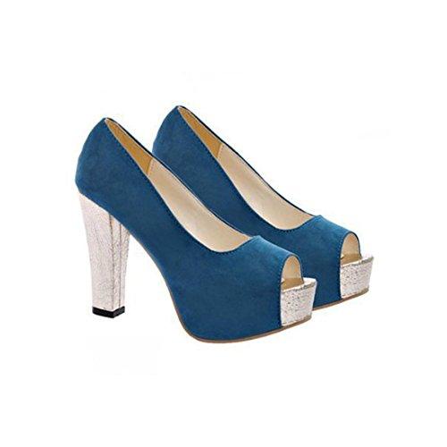 jeansian Moda Donna Sexy Scamosciato Stiletti Scarpe col Tacco Heels Shoes WSA079 Blue 39