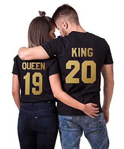 König Lustig T-shirt (Daisy for U King Queen Shirts Couple Shirt Pärchen T-Shirts Paar Tshirt König Königin Kurzarm 1 Stücke, King3, L)
