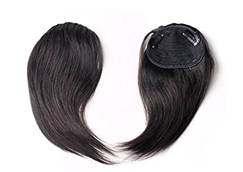 Lekima One Piece Hair Bang Hairstyle Real Human Hair Clip-On Fringe With Clip Hairpieces Extension Accessories Natural Balck Color - Side