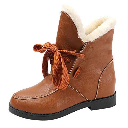 JURTEE Winterstiefel Damen Gefüttert Schneestiefel Platz Blockabsatz Martain Boot Keep Warm Round Toe Lace-Up Schuhe Outdoor Langschaft Stiefel