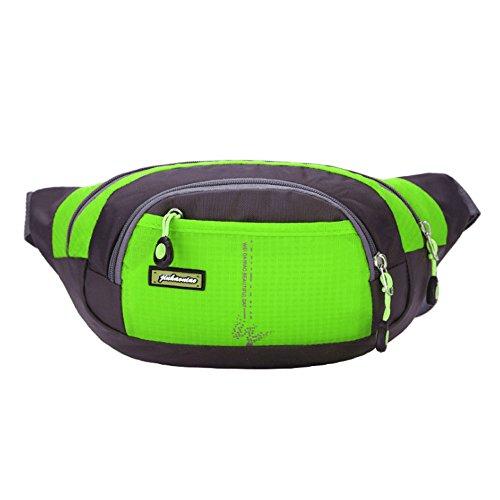 moyun Taille Taschen Wasserdichte Unisex-Running Gürtel Bum Camping Sport Wandern Zip Bag 8Farbe grün