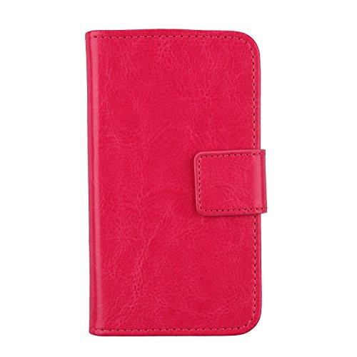 Gukas PU Leder Tasche Hülle Für Archos Sense 47X 4.7 Handy Flip Design Brieftasche mit Karten Slots Schutz Protektiv Case Cover Etui Skin (Farbe: Rosa)