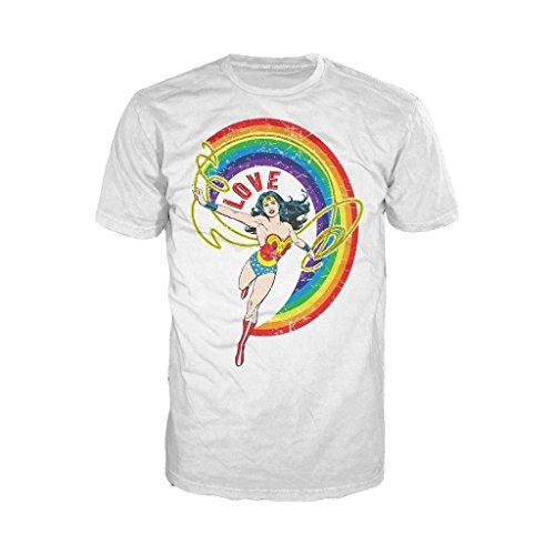 DC Comics Wonder Woman Rainbow Love Official Men's T-Shirt (White)