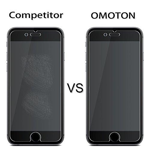 [2 Stück] OMOTON Panzerglas Displayschutzfolie für iPhone 6s und iPhone 6, 9H Härte, Anti-Kratzen, Anti-Öl, Anti-Bläschen, lebenslange Garantie - 7