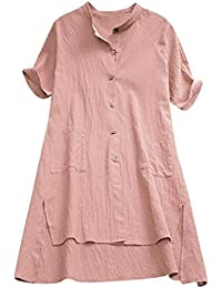 ZIYOU Damen Bluse Leinen Blusen Tunika Midi Kleid Rundhals Damen Freizeit  Oberteil Lose Blusen T-Shirt… 7431cc4b07