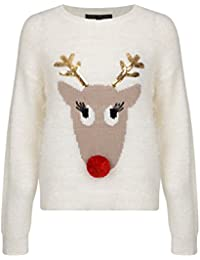 Heart & Soul Womens Sequined 3D Xmas Eyelash Knit Jumpers Ladies Embellished Festive Christmas Top
