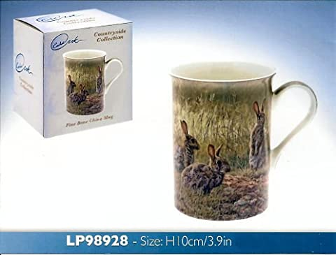 Martin Ridley Rabbits in Field Scene Countryside Collection Fine Bone China Mug by Lesser & Pavey