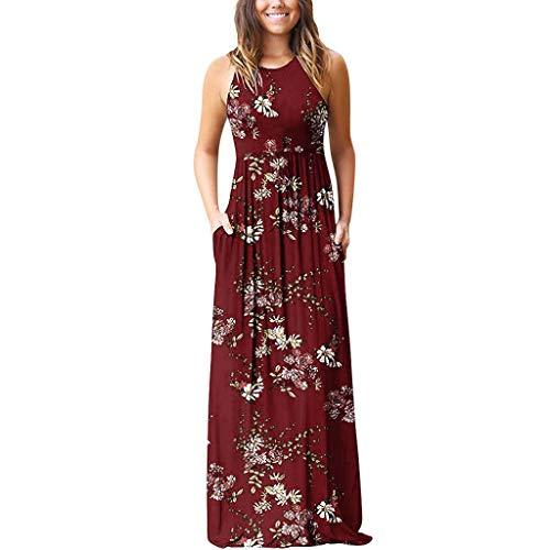 Zegeey Damen Kleid Sommer Kurzarm Rundhals Einfarbig Blumenkleid Maxi Kleid A-Linie Kleider Vintage Elegant LäSsige Kleidung Basic Casual Strandkleider(W24-rot,EU-44/CN-2XL) - 40er Jahre Dessous
