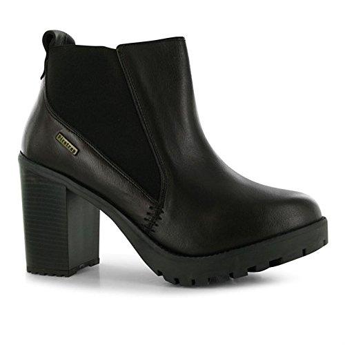 ee4dfda01fb772 Firetrap Queenie Damen Stiefeletten Absatz Ankle Boots Leder Schlupf Stiefel  Braun