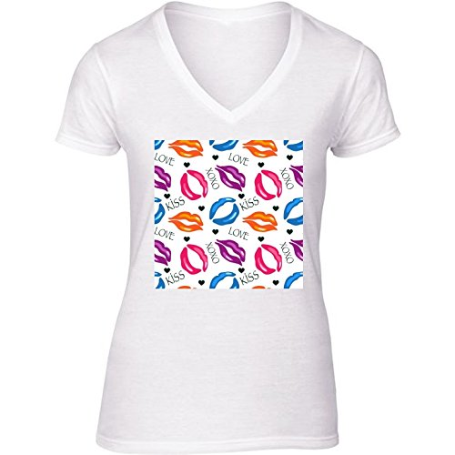 camiseta-blanca-con-v-cuello-para-mujer-tamano-l-los-labios-de-colores-by-lilalove
