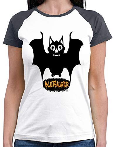 HARIZ  Damen Baseball Shirt Blutsauger Halloween Kostüm Horror Karneval Plus Geschenkkarten White/Navy M