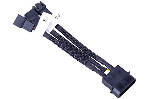 Phobya Adapter 4Pin Molex auf 3Pin 5V/7V/12V 10cm - Schwarz Kabel Lüfterkabel und Adapter