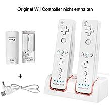Wii U Controller Ladegerät,TechKen Nintendo Spiele Wii Remote Fernbedienung Ladestation Docking Station Wii Charger Mit 2 Wiederaufladbaren Akkus und 2 LED Ladegeräte Ports