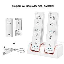 Wii Controller Ladegerät,TechKen Wii Spiele Wii Remote Fernbedienung Ladestation Docking Station Wii Charger Mit 2 Wiederaufladbaren Akkus und 2 LED Ladegeräte Ports MEHRWEG