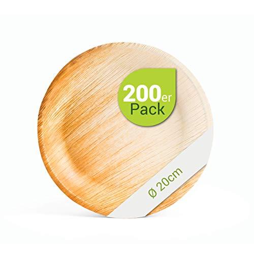 Leef® Bio Palmblattgeschirr - 200 Stück Palmblatt Teller rund Ø 20 cm - Einweggeschirr hochwertig, unbehandelt, biologisch abbaubar & nachhaltig Wegwerfgeschirr Einwegteller