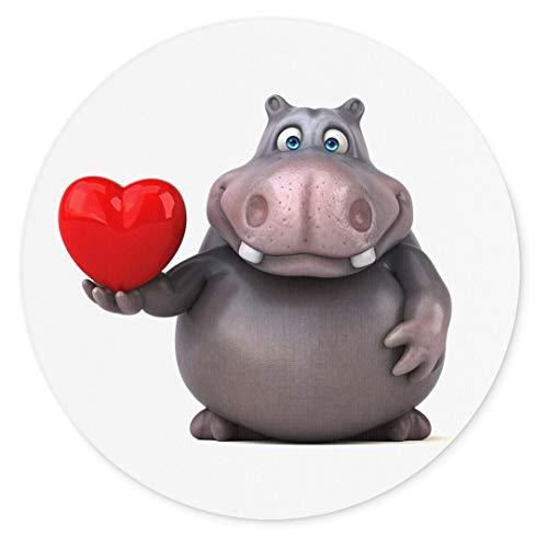 Merchandise for Fans 3D-Nilpferd mit Herz, Mauspad rund aus Textil 20cm, Rutschfester Kautschukrücken, für alle Maustypen -