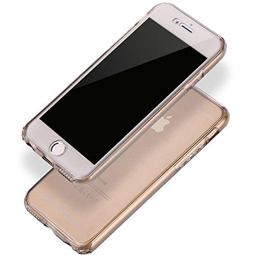 Full Body Weich Ultra Dünn Flexibel und stoßfest 360° transparent Slim Gel Case Cover Skin für Apple iPhone 6/6S (11,9cm) schwarz