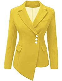 2b045cf24 Inlefen Woman Long Sleeve Blazer Asymmetric Lapel Spring Autumn Fashion  Solid Color Slim Fit Jacket with
