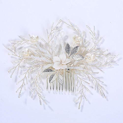 Littlefairy Accessoires Cheveux de Mariage,Tissés à la Main Pearl Peigne Mariage Accessoires Studio Photo