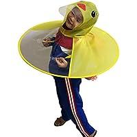 BIYI Creative Cartoon Duck Rain Hat Plegable Niños Impermeable Paraguas Cape Cute Rain Coat Cloak Universal para Niños Niñas (Amarillo)