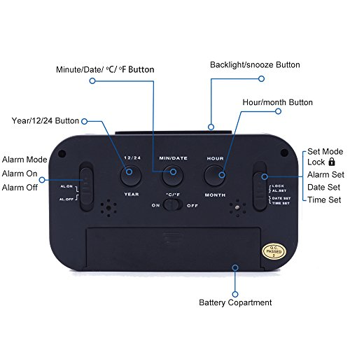 Ankoda® batteriebetriebener LED Digital-Wecker (schwarz) - 4