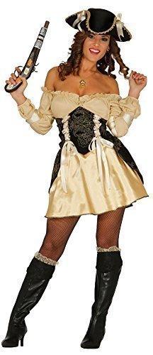 Plünderung Piraten schwarz/gold Corsair Bösewicht Kostüm Kleid Outfit & Hut 12-18 - Gold, 12-14 (Corsair Kostüm)