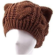 Foxnovo Crochet Geflochtene Wollmütze Katze Ohr Shaped Womens Mädchen Beanie Cap (Kaffee)
