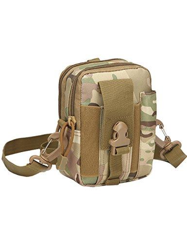 CUKKE Multipurpose Taktische Tasche Gürtel Taille Pack Tasche Military Taille Fanny Pack Telefon Tasche Gadget Geld Tasche Grün Tarnung 1
