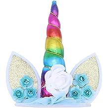 Ouinne Decoración para Tarta de Unicornio, Unicorn Cake Topper Cumpleaños Pastel Decoración para Cumpleaños Baby