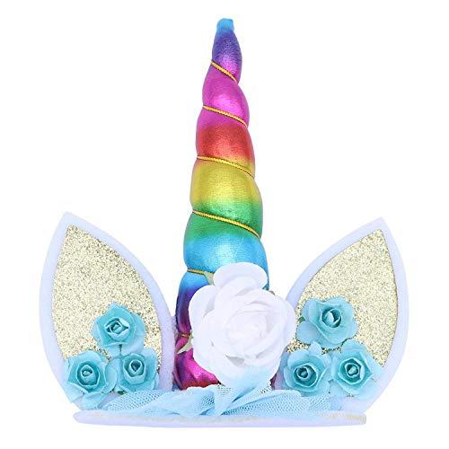 Características:   1, Nuestros adornos de pastel de unicornio están cuidadosamente hechos con poliéster de alta calidad y tela de fieltro  2, El adorno de pastel de cumpleaños de unicornio está diseñado con creatividad e imaginación, y son reutiliz...