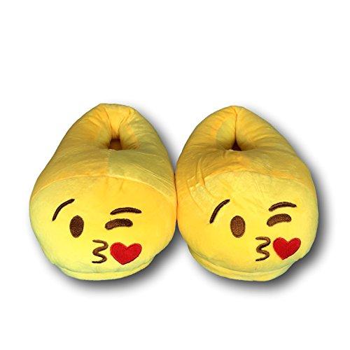 EKNA Emoticon Emoji-Con Emotikon Hausschuhe, Gr. 35-43 Unisex, Motivauswahl Kacki / Kackhaufen; Smiley Verliebt u. Kuss Kuss